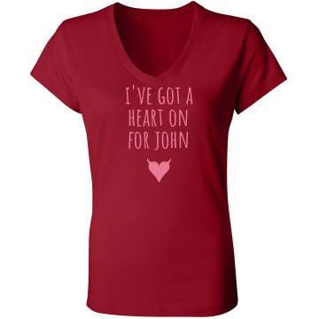 I've got a heart on Junior Fit Bella Sheer Longer Length Rib V-Neck Tee