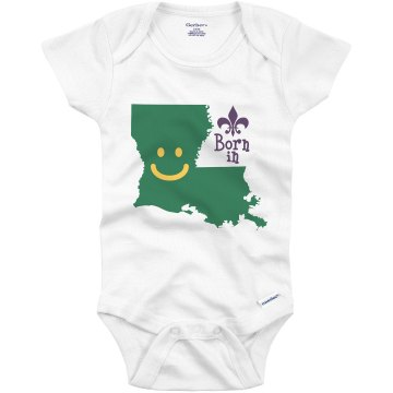 Born in Louisiana Infant Gerber Onesies