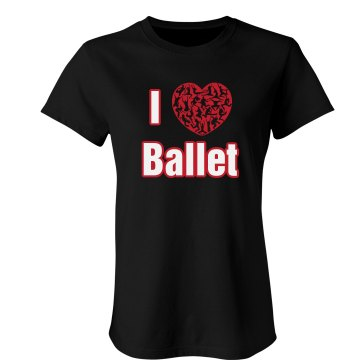 I Love Ballet Junior Fit Bella Crewneck Jersey Tee