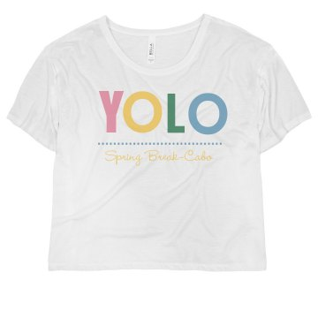 YOLO Spring Break Misses Bella Flowy Boxy Lightweight Crop Tee