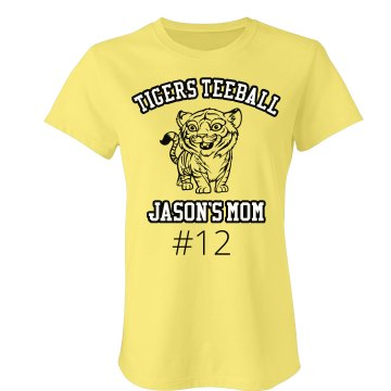 Tigers Teeball Junior Fit Bella Sheer Longer Length Rib V-Neck Tee