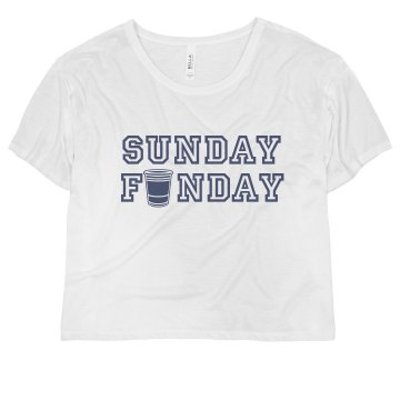 Sunday Funday Misses Bella Flowy Boxy Lightweight Crop Tee