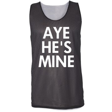 Aye He's Mine Girl Jersey Badger Sport Mesh Reversible Tank