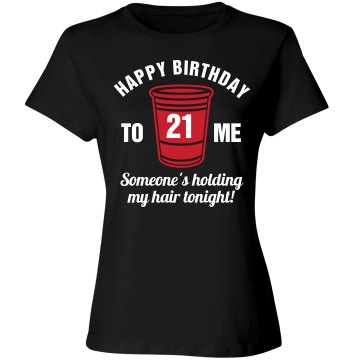 Holding My Hair Birthday Junior Fit Bella Sheer Longer Length Rib Tee