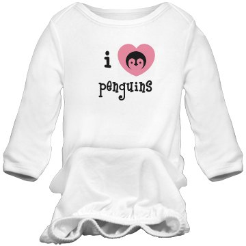 I Heart Penguins Infant Bella Baby 1x1 Rib Long Sleeve Sleeper
