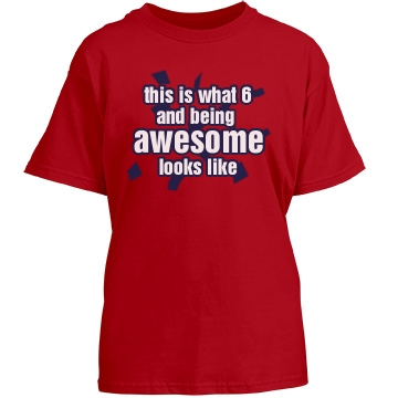 6 And Awesome Youth Gildan Heavy Cotton Crew Neck Tee