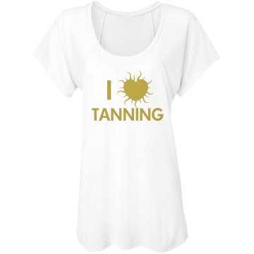 I Heart Tanning Misses Bella Flowy Lightweight Raglan Tee