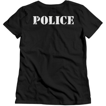 Police Distress w/ Back Misses Relaxed Fit Gildan Heavy Cotton Tee