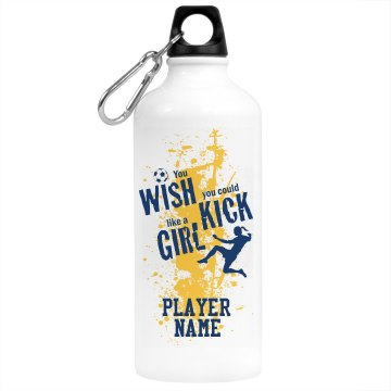Soccer Girl with Name Aluminum Water Bottle