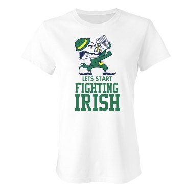 Lets Fight Irish Junior Fit Bella Crewneck Jersey Tee