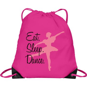 Eat Sleep Dance Bag Port & Company Drawstring Cinch Bag