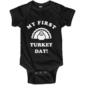 First Thanksgiving Turkey Infant Rabbit Skins Lap Shoulder Creeper