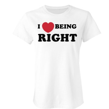 I Heart Being Right Junior Fit Bella Sheer Longer Length Rib Tee