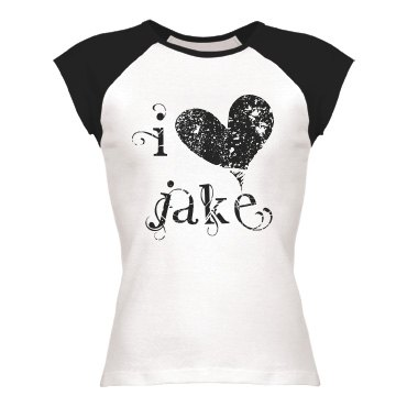 I Heart Jake Junior Fit Bella 1x1 Rib Cap Sleeve Raglan Tee
