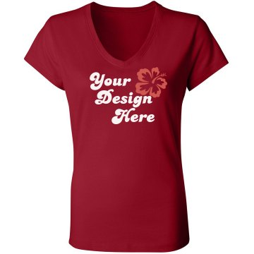Your Design Here Junior Fit Bella Sheer Longer Length Rib V-Neck Tee