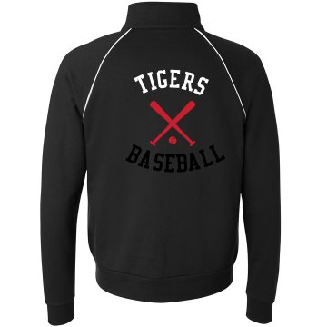 Tigers Baseball w/ Back Unisex Canvas Fleece Full Zip Track Jacket