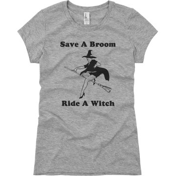 Halloween Ride A Witch Junior Fit Basic Bella Favorite Tee