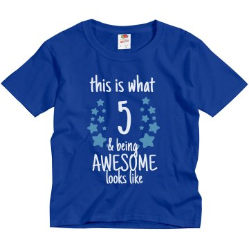 5 And Awesome Birthday Youth Gildan Ultra Cotton Crew Neck Tee