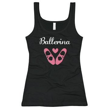 Ballerina Rhinestone Tank Junior Fit Bella Sheer Longer Length Rib Strap Tank Top