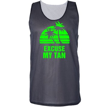 Excuse My Tan Pinnie Badger Sport Mesh Reversible Tank