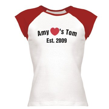 Amy Loves Tom Junior Fit Bella 1x1 Rib Cap Sleeve Raglan Tee