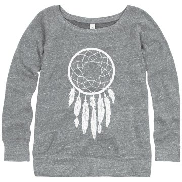 Dreamcatcher Junior Fit Bella Triblend Slouchy Wideneck Sweatshirt