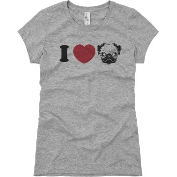 I Love Pugs Junior Fit Basic Bella Favorite Tee