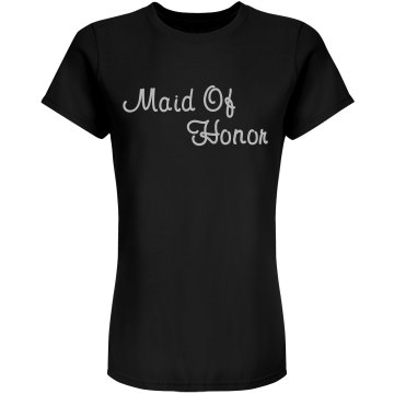 Maid Of Honor Rhinestone Junior Fit Bella Sheer Longer Length Rib Tee