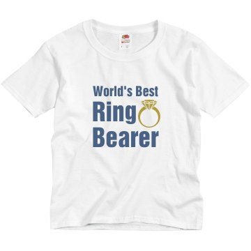 World&#x27;s Best Ring Bearer Youth Basic Gildan Ultra Cotton Crew Neck Tee