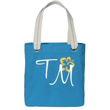 Custom Initials Tote Bag Port Authority Color Canvas Tote