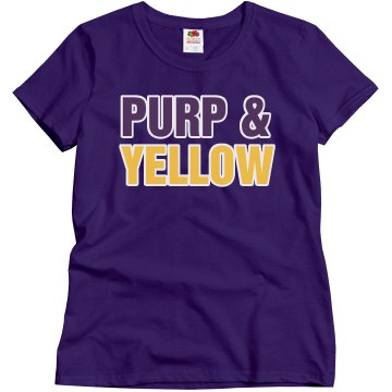 Purp &amp; Yellow Misses Relaxed Fit Gildan Ultra Cotton Tee
