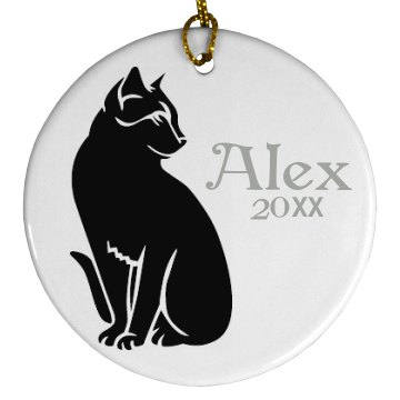 Cat with Name Ornament Porcelain Circle Ornament