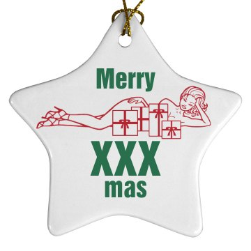 Merry XXX Mas Porcelain Star Ornament