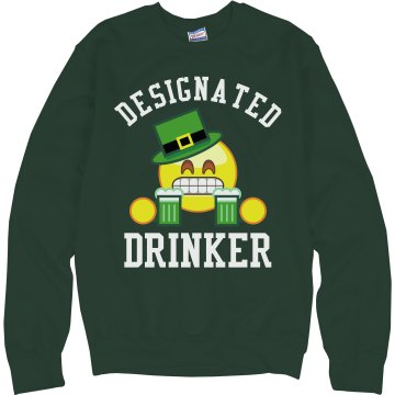 Designated Drinker Junior Fit Bella Long Sleeve Crewneck Jersey Tee