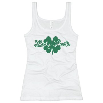 St. Patrick&#x27;s Lady Luck Junior Fit Bella Sheer Longer Length Rib Tank Top