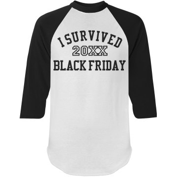 I Survived Black Friday Junior Fit Bella 1x1 Rib 3&#x2F;4 Sleeve Raglan Tee