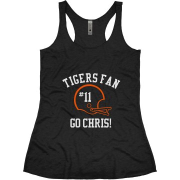 Tigers Football Fan Junior Fit Bella 1x1 Rib V-Neck Tee