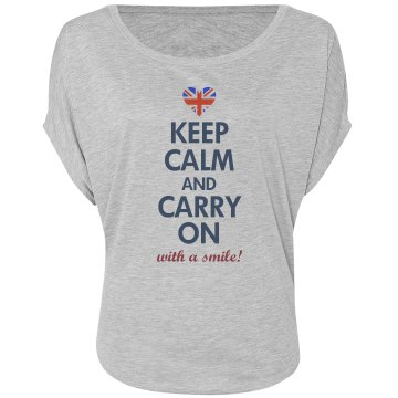 Keep Calm Princess Kate Misses Bella Flowy Draped Sleeve Dolman
