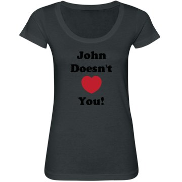 John Don&#x27;t Heart You Junior Fit Bella Sheer Longer Length Scoopneck Tee