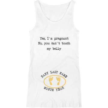 Yes I'm Pregnant Junior Fit Basic Bella 2x1 Rib Tank Top