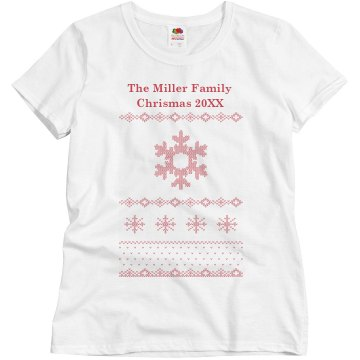 Family Christmas Sweater Misses Relaxed Fit Basic Gildan Ultra Cotton Tee