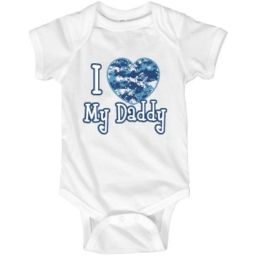 I Heart My Daddy Infant Rabbit Skins Lap Shoulder Creeper