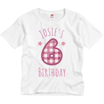 Penny&#x27;s 6 Birthday Tee Youth Bella Girl Sheer 2-in-1 Baby Jersey Tee