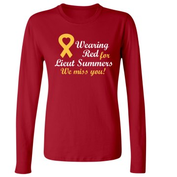 Red Friday for Summers Junior Fit Bella Long Sleeve Crewneck Jersey Tee