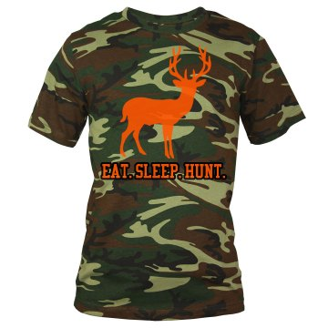 Eat. Sleep. Hunt Unisex Code V Camouflage Tee