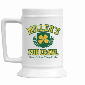 Pub Crawl Stein 16oz Ceramic Stein