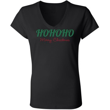 Ho Ho Ho Merry Christmas Junior Fit Bella Long Sleeve Sheer Longer Length Rib V-Neck Tee