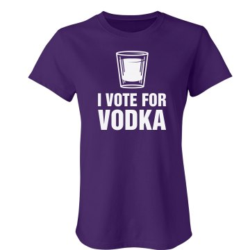 I Vote For Vodka Junior Fit Bella Crewneck Jersey Tee