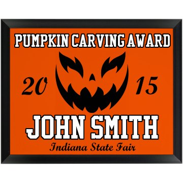 Pumpkin Carving Award Round Wood Plaque