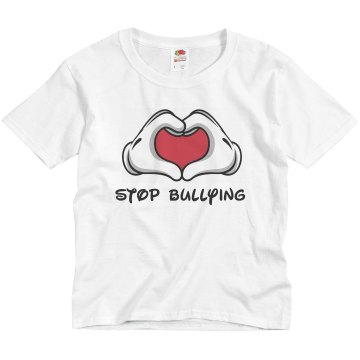 Stop Bullying Hand Sign Youth Basic Gildan Ultra Cotton Crew Neck Tee